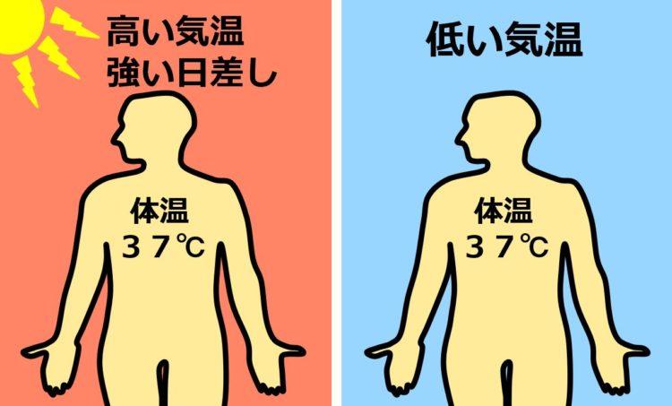 高い気温で強い日差しの日も、低い気温の日も、体温は同じ37℃
