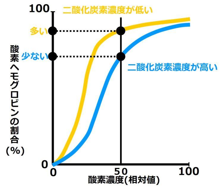 酸素濃度50で比べた時、二酸化炭素濃度の高い血液のほうが、二酸化炭素濃度の低い血液に比べて、酸素ヘモグロビンの割合(縦軸)が小さくなることを描いた図