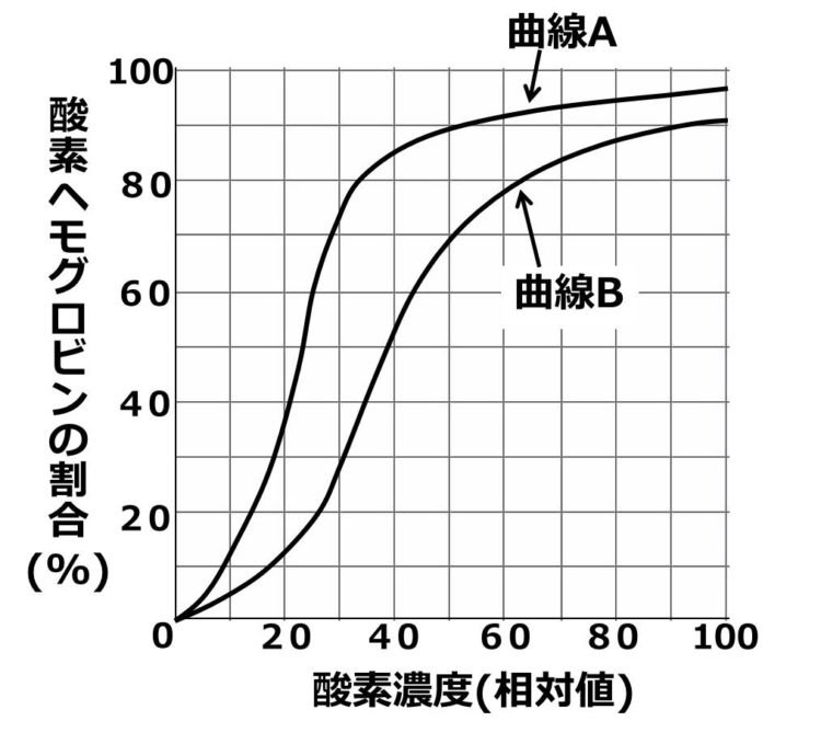 曲線Aは左上側、曲線Bは右下側に描かれている。曲線Aでは、酸素濃度