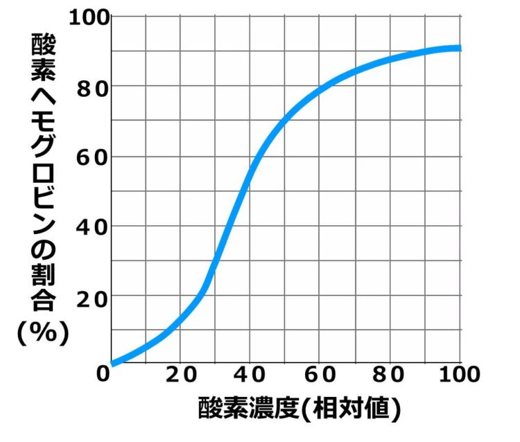 軸の値が読みやすいよう、格子状の表の上に1本の酸素解離曲線が描かれている