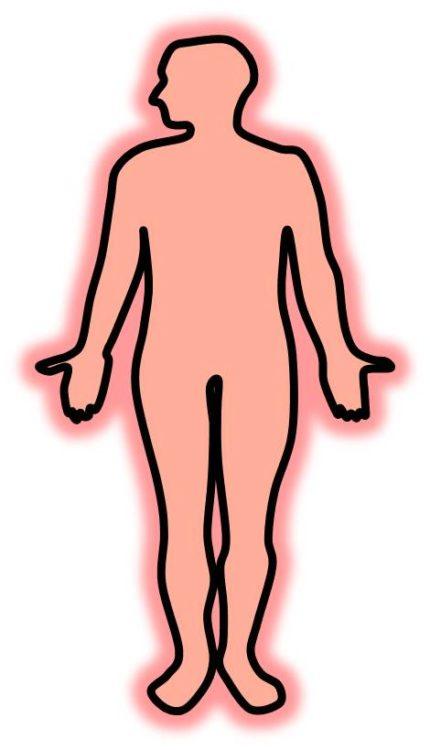 かぜをひいた際の発熱を、ヒトの全身が真っ赤になる図で表現してある。