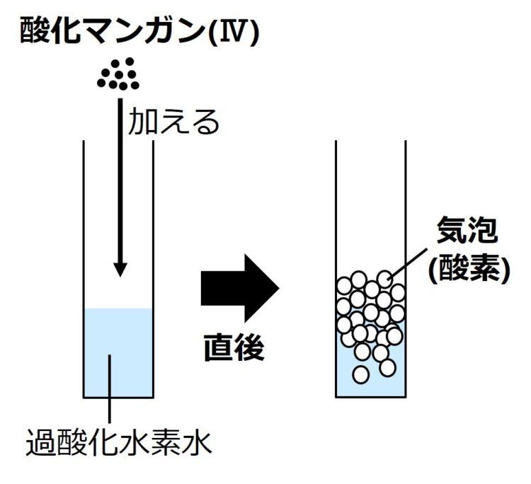 粒状の酸化マンガン(Ⅳ)を加えると、直後に、過酸化水素水の中や水面で大量の気泡が生じることを、大量の円で描いた図。