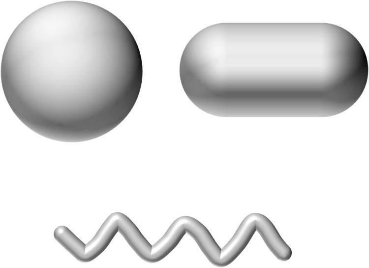 球形、カプセル薬形、らせん形の原核生物の模式図