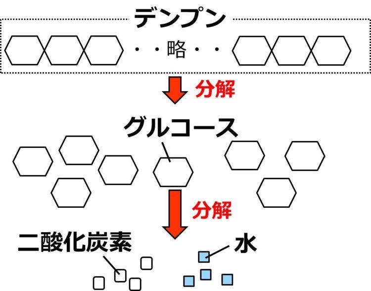 六角形が多数つながったデンプンが分解され、1個1個の六角形で描かれたグルコースとなる。グルコースが分解され、小さな白い正方形で描かれた二酸化炭素と、小さな水色の正方形で描かれた水になる。