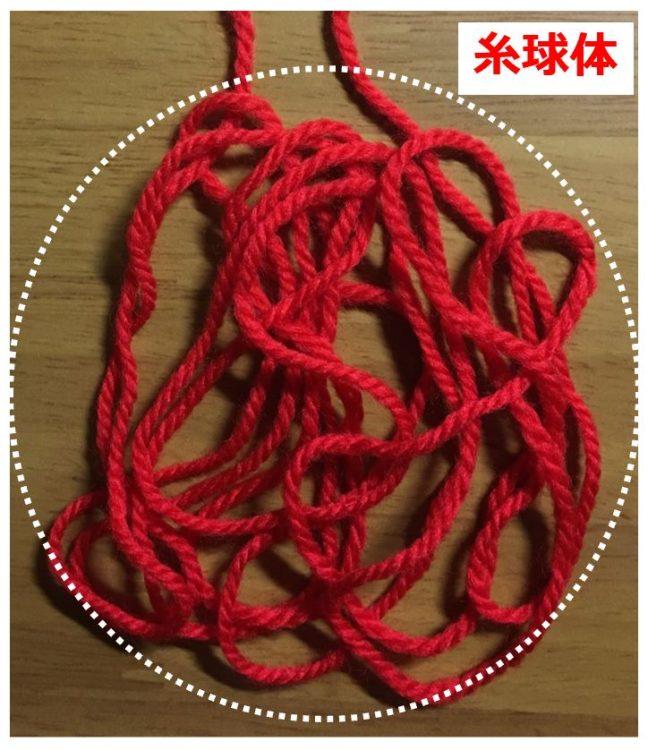 1本の毛糸を折り曲げてゆるく束にした写真