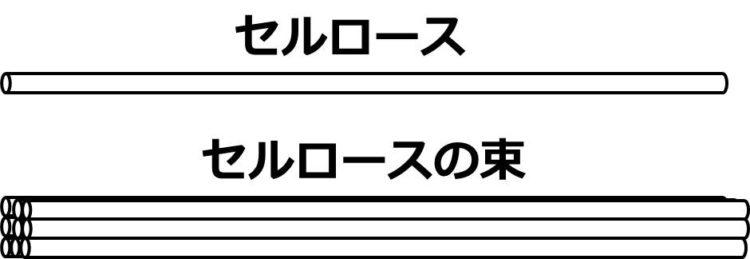 1本のセルロースの図と、9本のセルロースが合わさった束の図が描かれている。