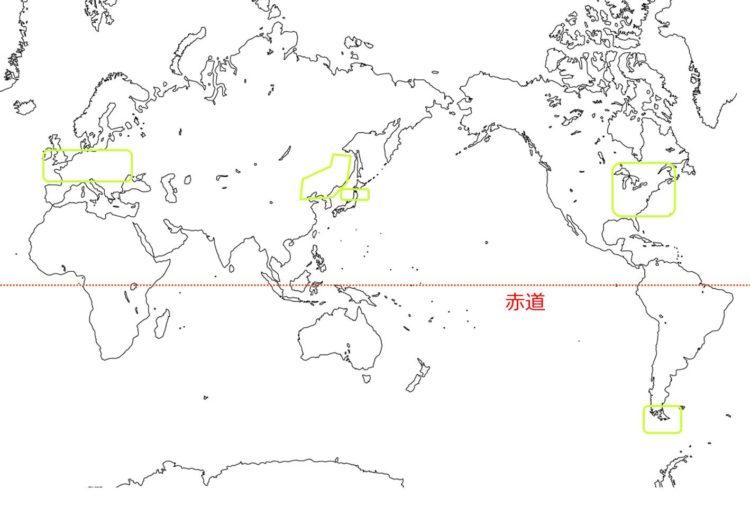 夏緑樹林の世界の分布