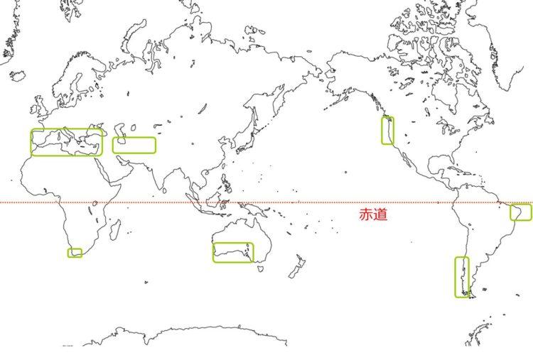 硬葉樹林の世界の分布