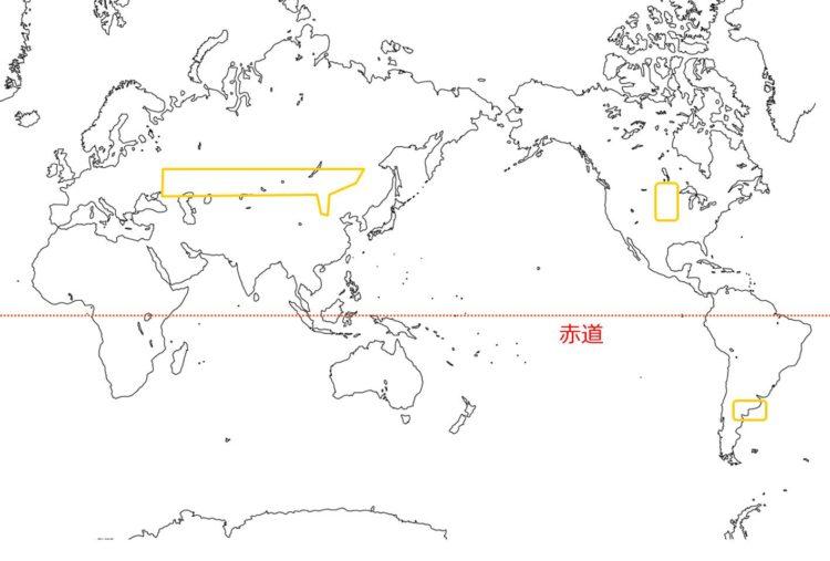 世界のステップの分布図
