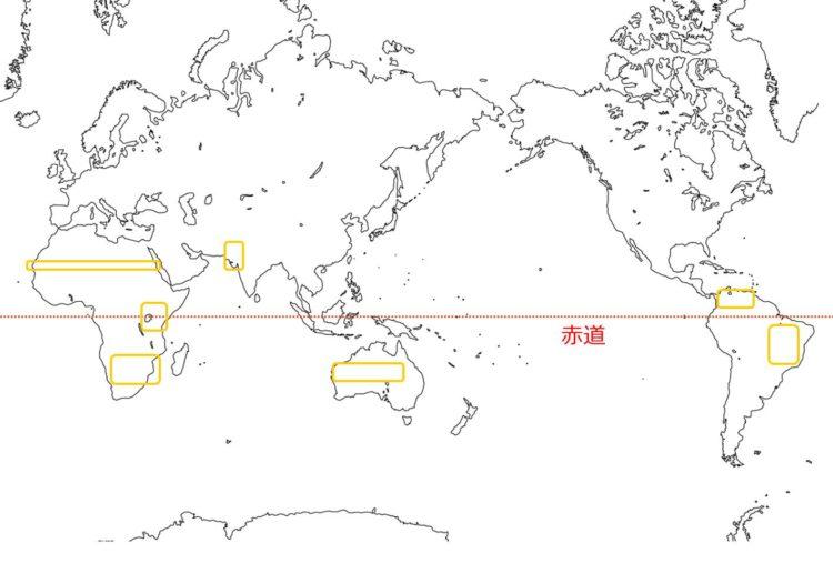 世界のサバンナの分布図