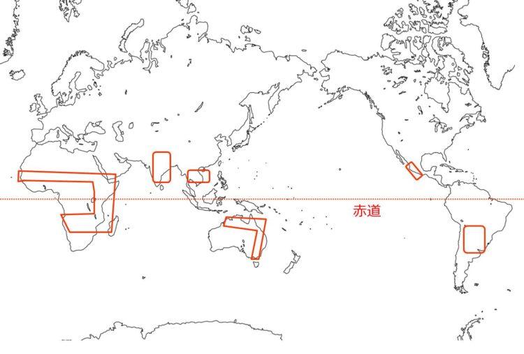 雨緑樹林の世界の分布の図