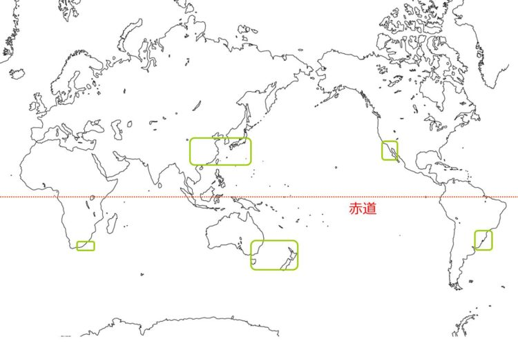 世界の照葉樹林の分布図