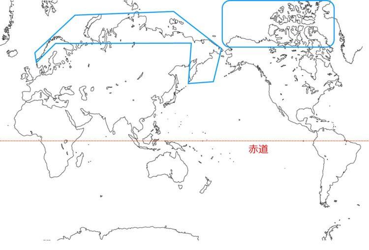 世界のツンドラの分布図