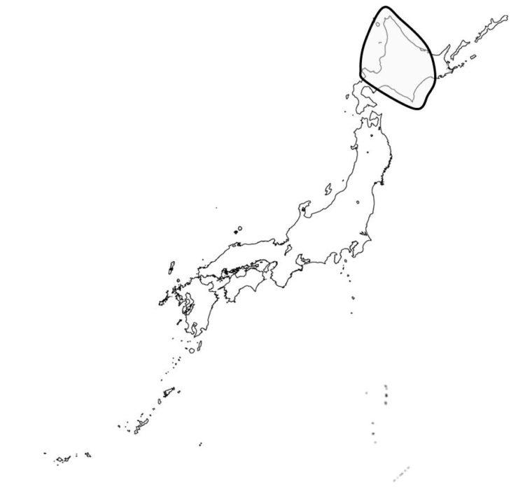 日本の落葉広葉樹と針葉樹の混じる森林の分布を示す図