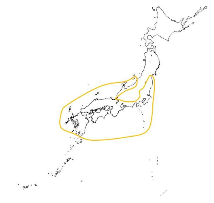 日本の照葉樹林の分布域を示す図