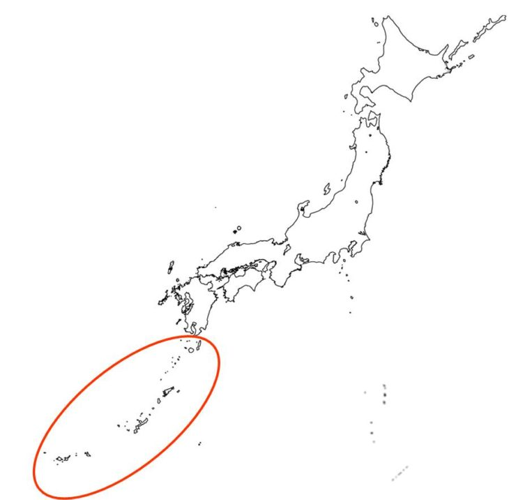 日本の亜熱帯林の分布域の図
