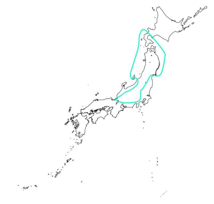 日本の夏緑樹林の分布域を示す図