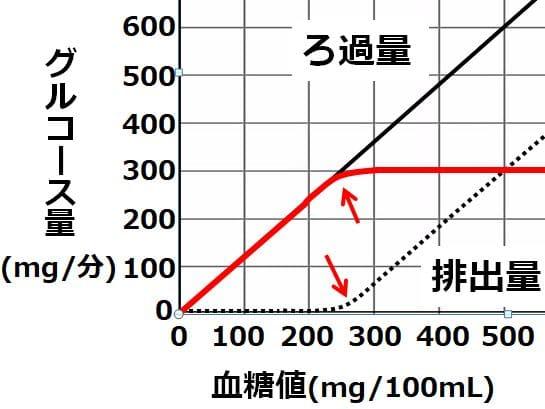 排出量のグラフが曲線を描くときは、再吸収量のグラフでも曲線を描く