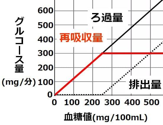 再吸収量を示すグラフ。血糖値250までは、ろ過量のグラフと重なり、250以上では、グルコース量300のまま、横軸に平行となる。