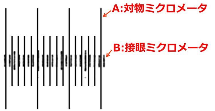 記号Aは対物ミクロメータ、記号Bは接眼ミクロメータであることが図中に書かれている