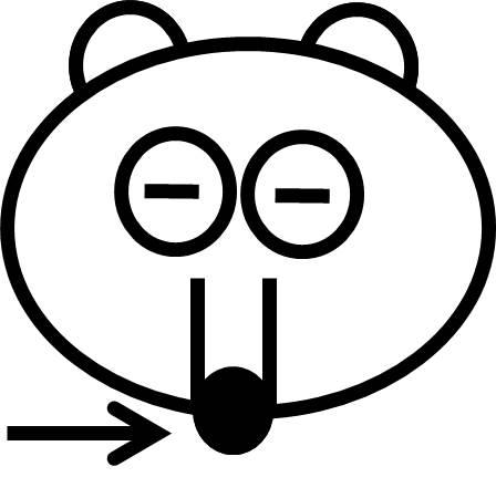 ボンボの顔の拡大図。
